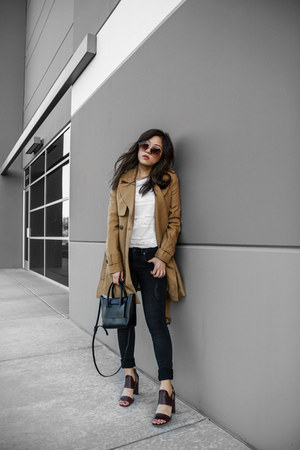 tan trench coat coat - white lace top
