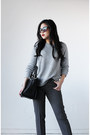Gray-forever-21-sweater-express-bag-express-pants