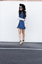 blue denim dress - black ankle strap heels