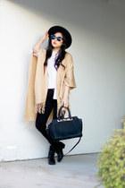 camel poncho Forever 21 sweater - black Zara jeans