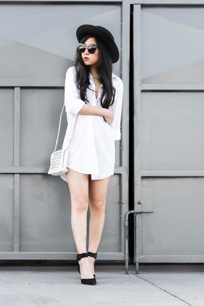 white shirt dress dress - black ankle strap pumps