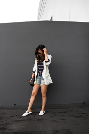white blazer - white loafers