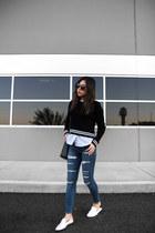 blue distressed jeans - black sweater