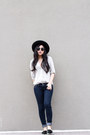 Off-white-button-up-shirt-black-pointed-flats
