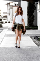olive green military jacket jacket - black lace shorts