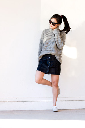 black faux leather skirt - heather gray turtleneck sweater
