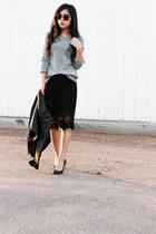black leather jacket - black lace pencil skirt - black pumps