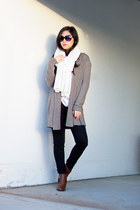 light brown open knit ann taylor cardigan - ankle Forever 21 boots