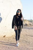 black faux leather Express jacket - black Zara top - white Vans sneakers