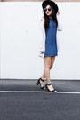 Blue-denim-dress-black-ankle-strap-heels