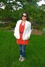 Red-target-dress-ivory-thrifted-vintage-coat-dark-brown-chanel-sunglasses-