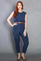 80s Navy Jumpsuit