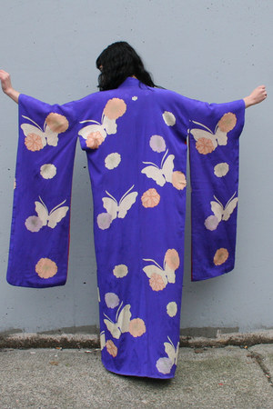 blue silk kimono vintage jacket