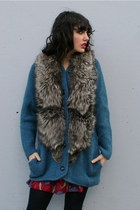 blue fur collar vintage cardigan