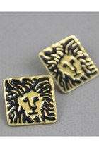 gold lion head vintage earrings