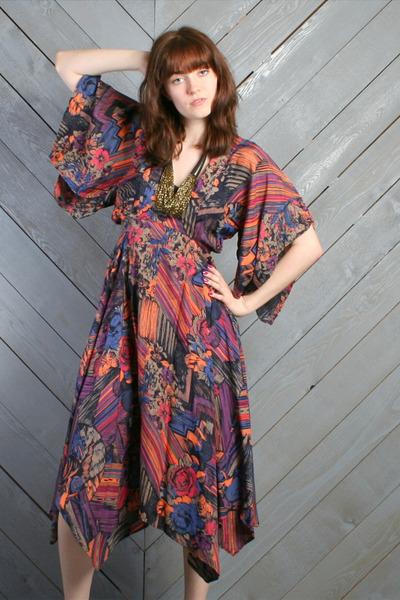 black gypsy scarf vintage dress