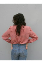 Light Pink Puff Sleeve Vintage Anne Klein Blouses