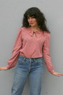 Light-pink-puff-sleeve-vintage-anne-klein-blouse