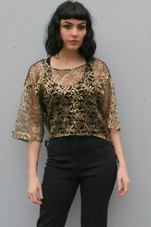 gold metallic lace vintage shirt