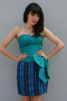 Turquoise-blue-strapless-silk-vintage-dress