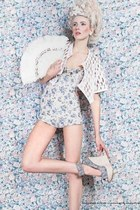 light blue floral rene ropas romper - cream crochet Adolfo Sanchez jacket