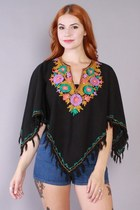 70s Embroidered Poncho