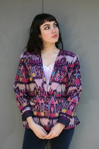 Deep-purple-ikat-silk-vintage-blazer