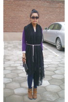 black lace random scarf - camel shoe boots dfuse boots - purple self-made dress