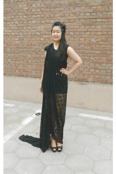 black lace dress DIY dress - black peep toe new look shoes