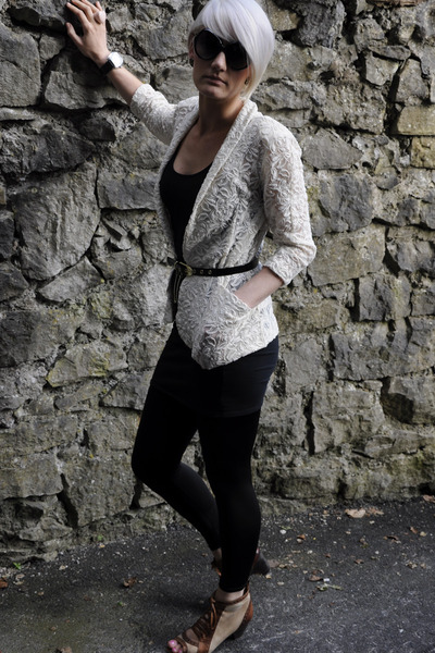 beige River Island blazer - black All Saints shoes - Mi Miu sunglasses