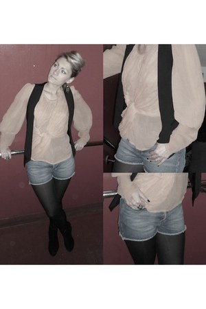 Denim Shorts shorts - Topshop blouse - River Island Waistcoat top