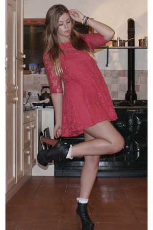 red Topshop dress - white Urban Outfitters socks - black Jeffrey Campbell heels