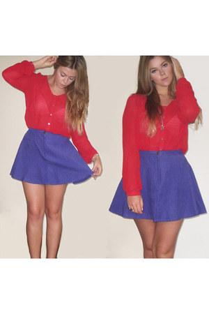 red Forever 21 shirt - blue Forever 21 skirt