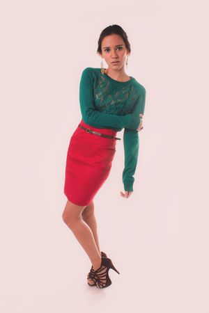 ruby red with belt Forever 21 skirt - teal Zara sweater