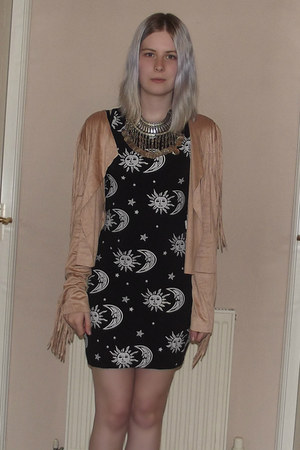 black sun  moon StyleMoi dress - tan fringe StyleMoi cardigan
