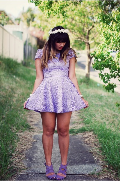 light purple Rosy Ruby dress - light purple Zara shoes - white vintage hat