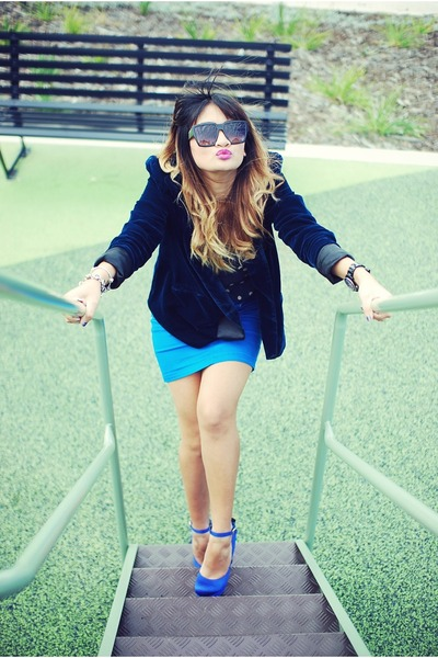 blue Steve Madden shoes - navy Sportsgirl blazer - navy Nasty Gal shirt