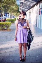 light purple Rosy Ruby dress - black Topshop bag - black Siren sandals