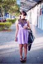 light purple Rosy Ruby dress - black Topshop bag - black Siren sandals