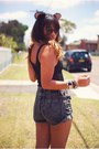 Black-one-teaspoon-shorts-charcoal-gray-boston-babe-shoes