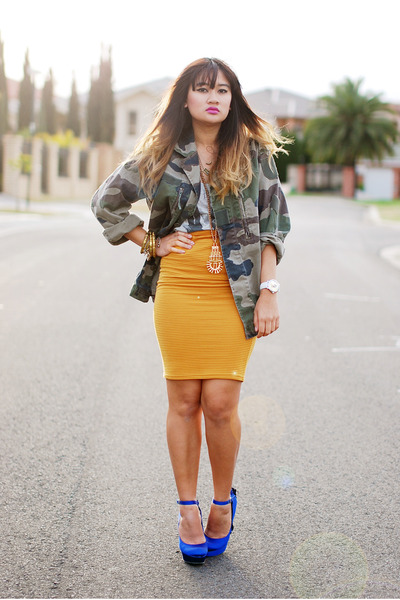 mustard Blue Jade skirt - army green asos jacket - blue Steve Madden heels