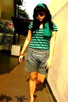 blue scarf - blue blouse - red bracelet - silver shorts - red shoes
