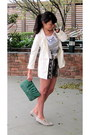 Mango-shirt-h-m-blazer-studded-bag-lulu-nyc-bag-drawstring-mango-shorts