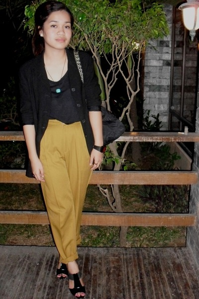 black blazer - black Forever 21 top - gold pants - black shoes - black - blue ne