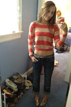 striped Forever 21 sweater - boyfriend jeans Converse jeans
