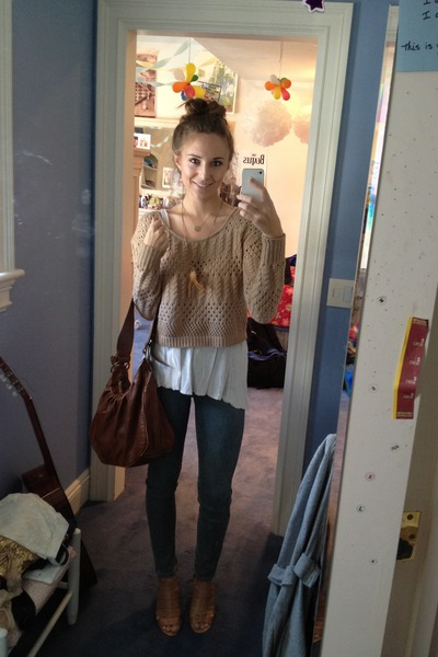 Cropped Knit Forever 21 Sweaters Urban Outfitters Jeans Outfit