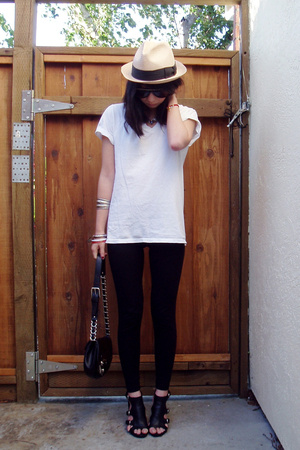 Hanes t-shirt - American Apparel pants - Nine West shoes - random boutique hat