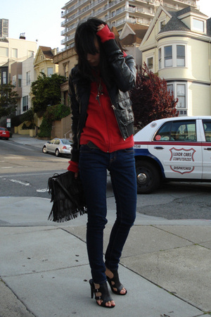H&M jacket - American Apparel sweater - J Brand jeans - Zara purse