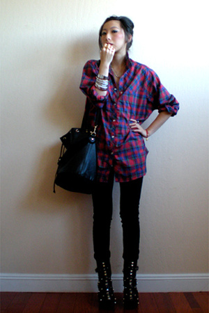 thrifted Levi Strauss shirt - J Brand jeans - tripp shoes - H&M purse