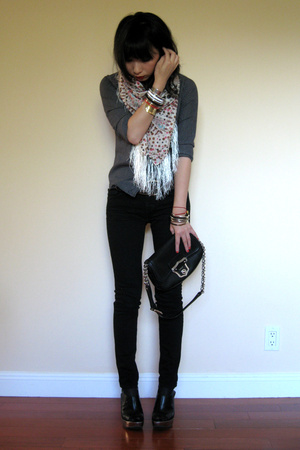 Pour shirt - House of Dagmar scarf - J Brand jeans - Aldo shoes
